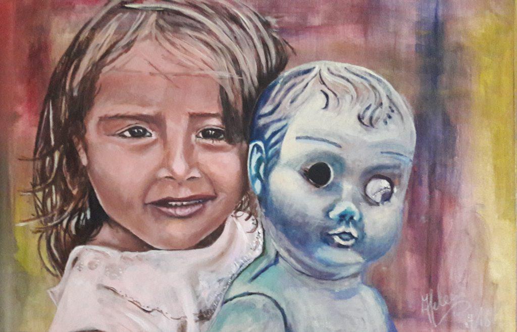 Meisje met Pop; Acryl op canvaspad. 43 x 55 cm midden 2016  € 200,- excl lijst