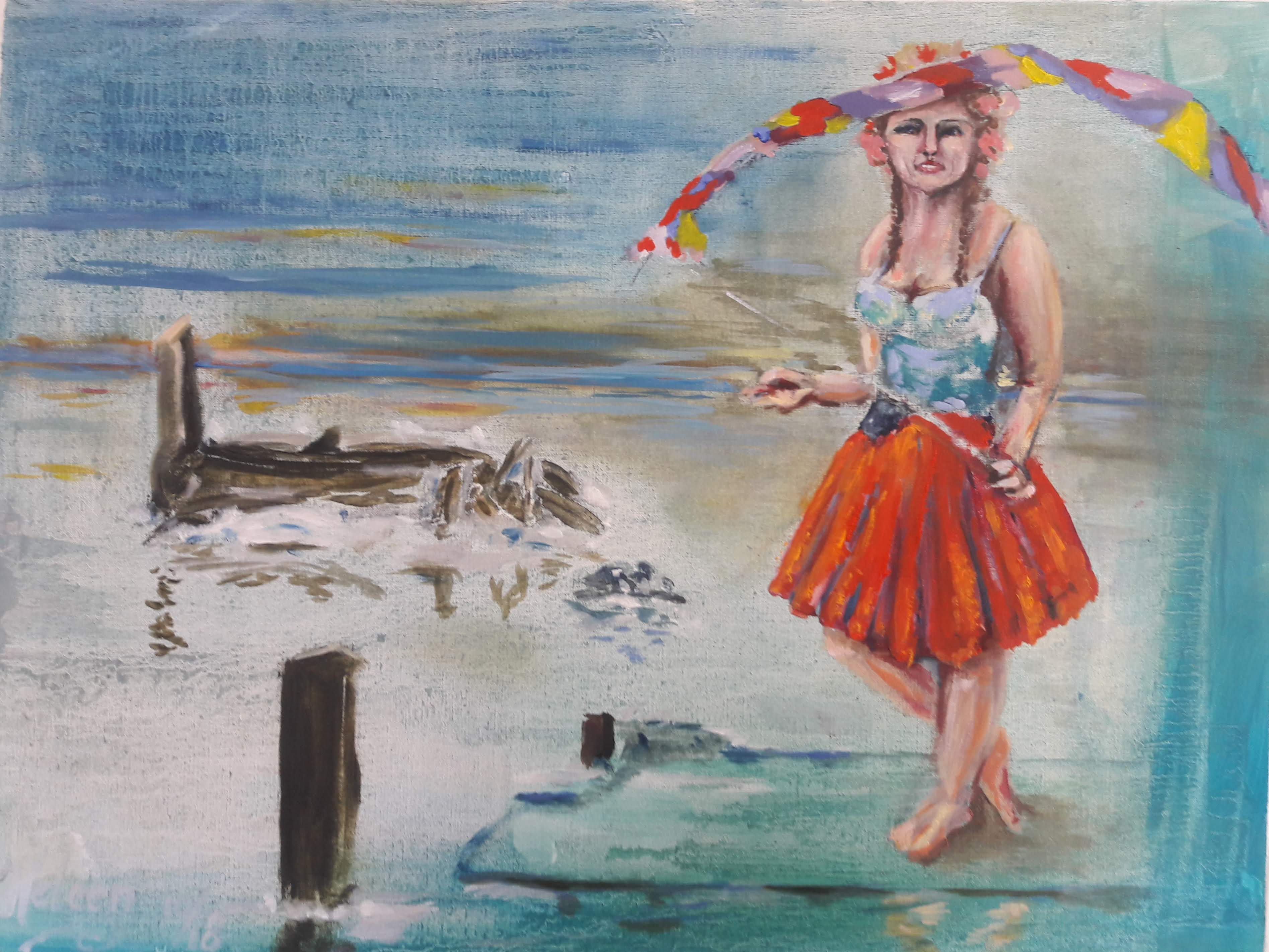 """Lorelei"" Olieverf op papier; 50cm x 65cm  10/18 € 200,- excl lijst"