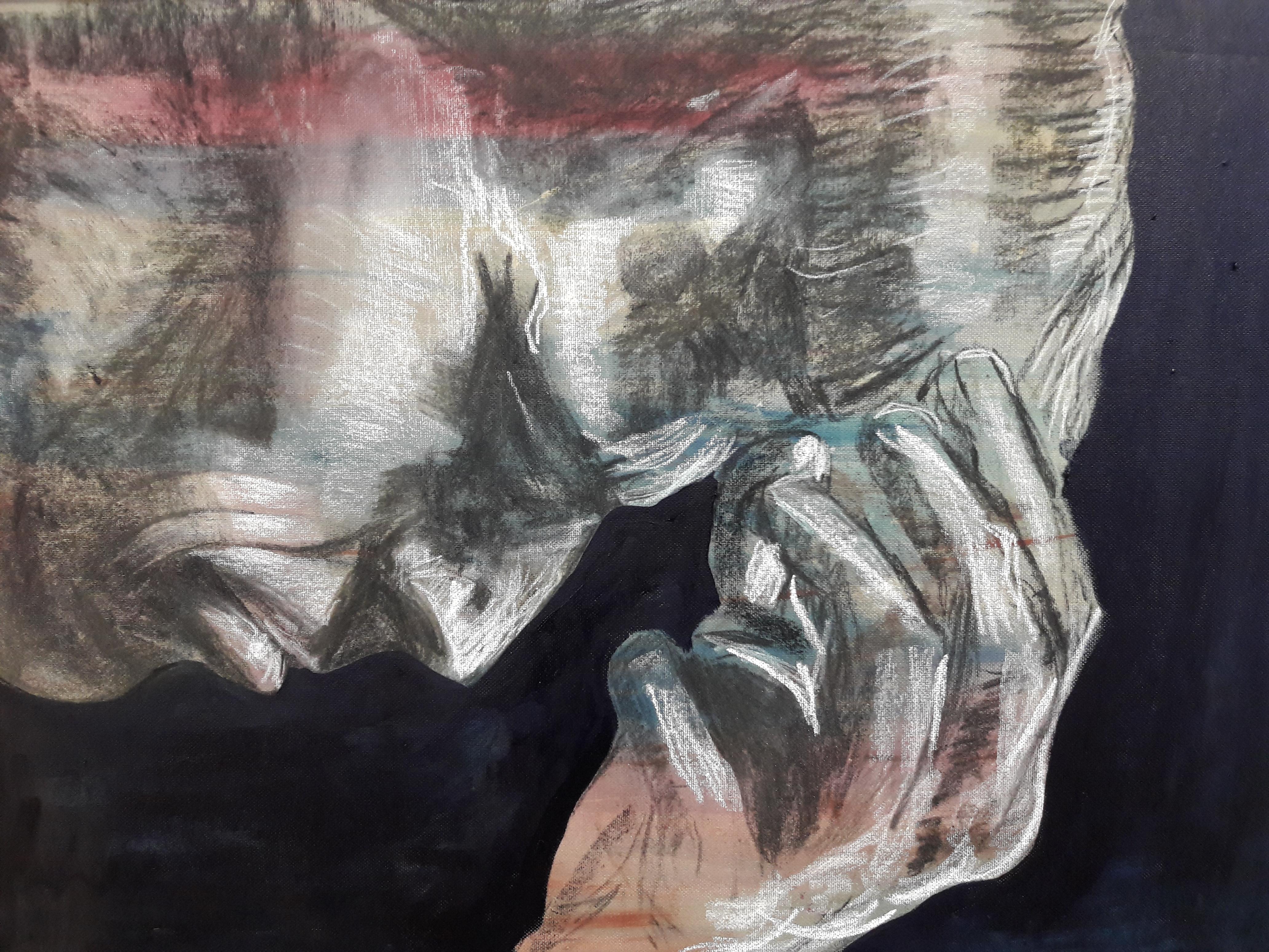"""""""Onbegrip"""" olieverf, houtkool en krijt op papier 65 x 55 cm uit de serie: Fear, Anger and Tears 12/17"""
