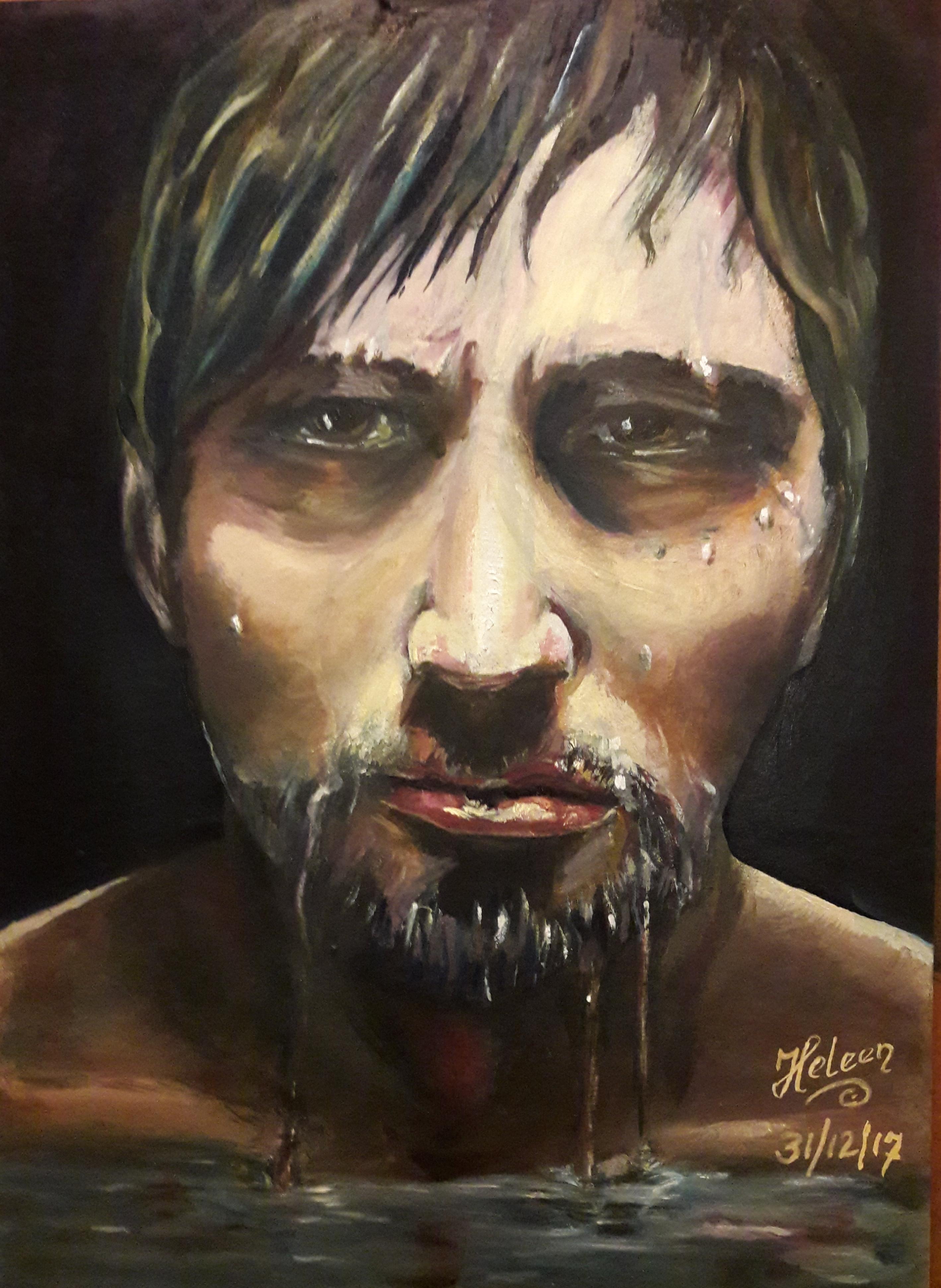 """Onpeilbaar"" olieverf op karton. 30 x 40 cm Uit de serie; Fear, Anger and Tears 12/17"
