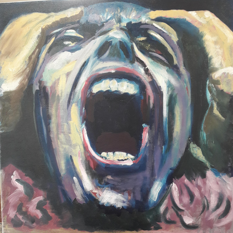 """""""Wanhoop Olieverf"""" of doek 40x40cm Uit de serie: """"Fear, Anger and Tears"""" 11/17"""