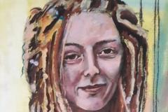 """""""Meisje met dreads"""" Acryl op canvaspad 43 x 55 cm (2016)  € 200,- excl lijst."""