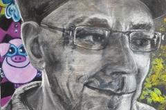 BOES  portret van Bas Boender, olieverf op papier. het portret is houtskool met wit softpastel over olieverf, 50 bij 65cm, 4/18 niet te koop.