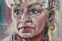 """""""Diana Teunissen"""" Olieverf op papier 65 x 55cm 9/17 portret (beschikbaar voor expo)"""