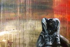 """""""gebroken lijn""""olieverf op papier 65 x 55 cm uit de serie; Fear, Anger and Tears 12/17   € 200,- excl lijst"""