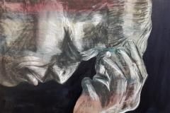 """""""Onbegrip"""" olieverf, houtkool en krijt op papier 65 x 55 cm uit de serie: Fear, Anger and Tears 12/17  € 200,-  excl lijst"""