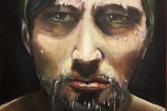 """Onpeilbaar"" olieverf op karton. 30 x 40 cm Uit de serie; Fear, Anger and Tears 12/17   €200,- excl lijst"