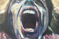 """""""Wanhoop Olieverf"""" of doek 40x40cm Uit de serie: """"Fear, Anger and Tears"""" 11/17    € 200,- excl lijst. (lijst niet noodzakelijk)"""