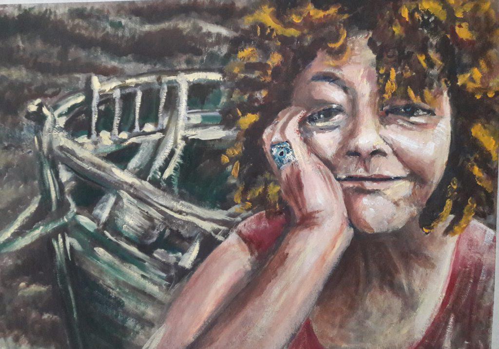 zelfportret-nr3 8/17  43 x 55 cm olieverf op canvaspad. Beschikbaar voor expo, te koop in overleg