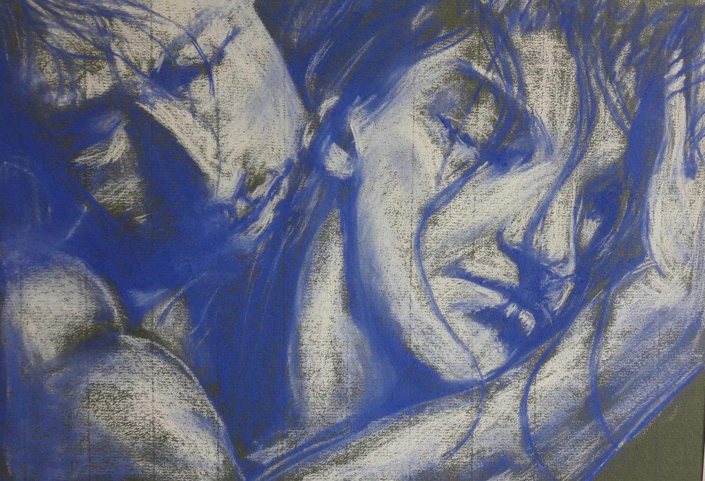 Afscheid 2, blauw en wit pastel op groen papier. A3 formaat, 4/17