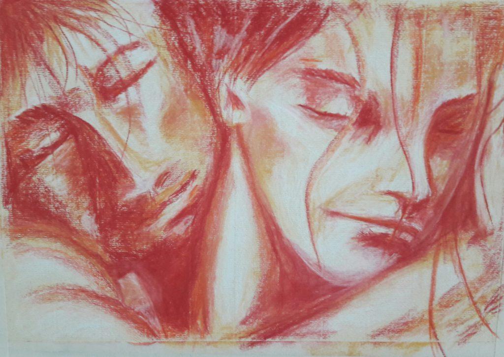 Afscheid 3, Rood en oranje pastel op geel papier. A3 formaat, 4/17